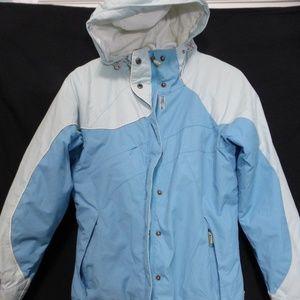 Columbia medium light blue winter jacket, hoodie